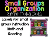 Small Groups Organization  {Labels for Math and Reading Groups}
