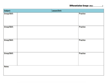 Small Groups, Planning Template
