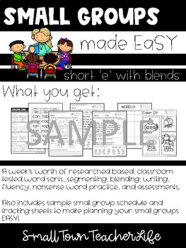 Small Groups made EASY- 'CK'  'LL'  'ING' Ending Words Unit