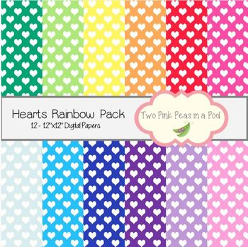 Small Hearts Rainbow Backgrounds - 12 Digital Papers for Labels, Backgrounds