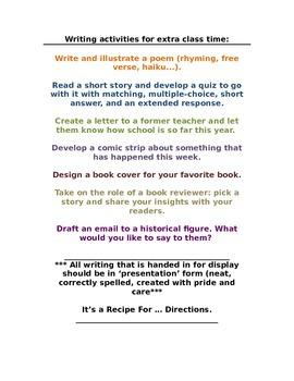 Independent Writing Activities, Tiny Writing Activities fo