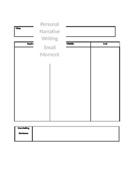 Small Moment Graphic Organizer