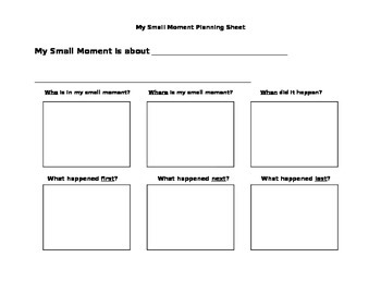 Small Moment Planning Sheet