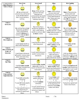 Small Moment Rubric - Kid Friendly (First Grade)