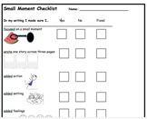 Small Moment Story Checklist Rubric
