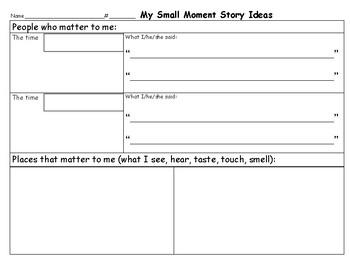 Small Moment Story Ideas/Writing Units of Study Grade 3