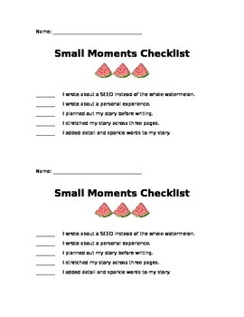 Small Moments Checklist