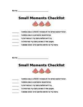 Small Moments Checklist
