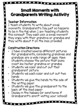 Small Moments Grandparent's Day Writing Activity