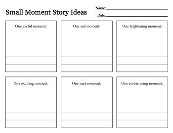 Small Moments Graphic Story Idea Organizer