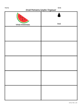 Small Moments Narrative Writing Graphic Organizer