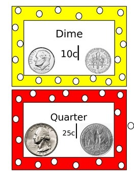Small Money Signs-Primary Colors Polka Dots