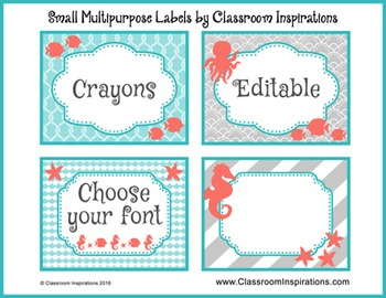 Small Multipurpose Labels – editable –Nautical by the Sea Classroom Theme