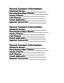 Small Parent Contact Information Form