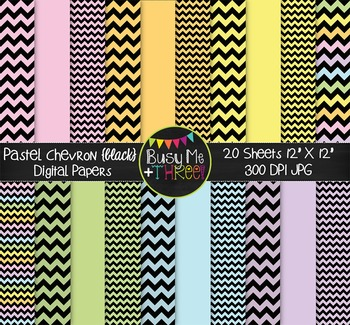 Small Pastel Chevron {BLACK} Digital Papers {Commercial Us