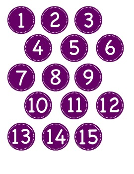 Small Purple Circle Number Labels 1 - 30