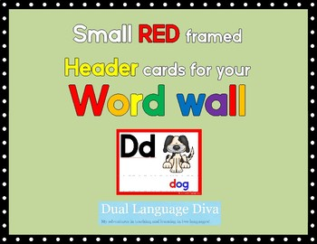 Small RED framed Word Wall Header Cards