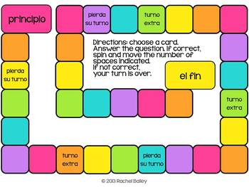 Small Rainbow-Colored Game Board in Spanish
