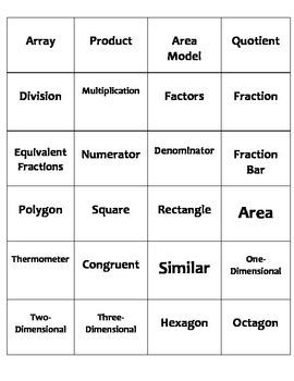 Small STAAR Math Vocabulary 3rd Grade Card Set (3-5)