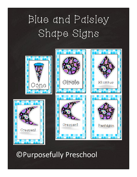 Small Shape Signs Blue and Paisley