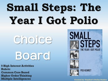 Small Steps: The Year I Got Polio Choice Board Novel Study Activities Menu