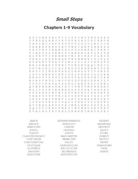 Small Steps Vocabulary Word Search Packet for Chapters 1-36