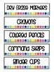 Small Sterilite 3 Drawer Labels - Rainbow Dot