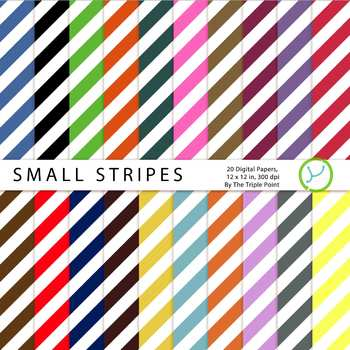 Small Stripes Background: 20 Digital Papers