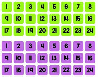 Small Student Number Labels: 10 Colors!