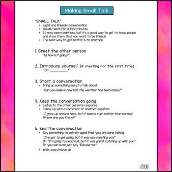 Small Talk: Steps and Topics