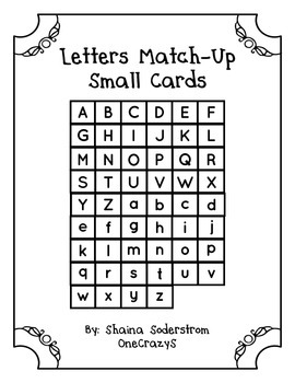 Small Uppercase and Lowercase Letter Cards