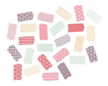 Small Washi Tape Clipart, Digital Clipart, Washi Tape Set #220