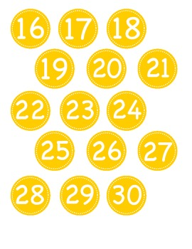 Small Yellow Circle Number Labels 1 - 30