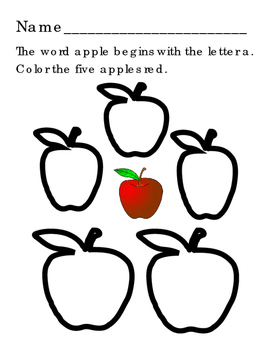 Small and Upper Case A O S T Alphabet Trace Write Letters Color Apples Red 4pg