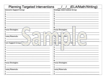 Small group intervention planning tool