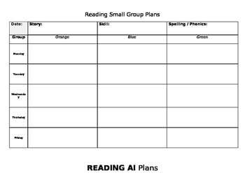Small group planning templates