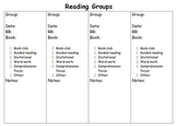 Small group reading: guided reading and invitational group recording sheet