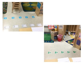 Small group shapes/ floor pieces with ordinal numbers.