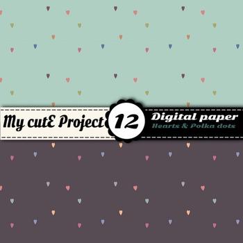 Small hearts and polka dots - Soft colors digital paper - Scrapbooking -