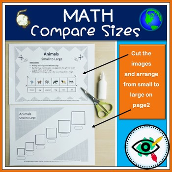 Compare sizes-Small to Large-worksheets