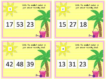 Smallest Number Task Cards. Comparing Numbers. Counting to 100.