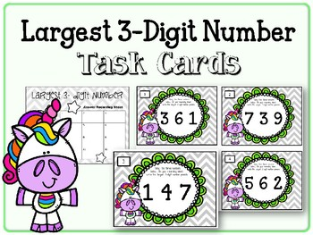 Largest Three-Digit Numbers. Task Cards.