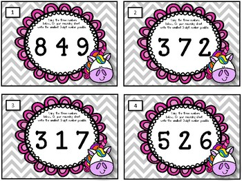 Smallest Three-Digit Numbers. Task Cards