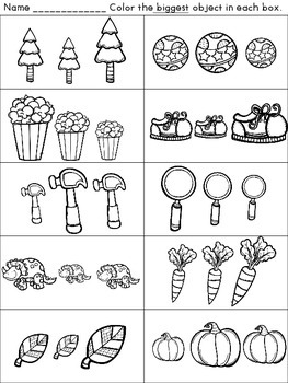 Smallest and Biggest Size Comparison Activities and Worksheets