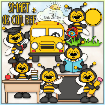 Smart As Can Bee - CU Clip Art & B&W Set