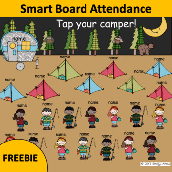 Smart Board Attendance Fun FREEBIE - Camping - End of the Year