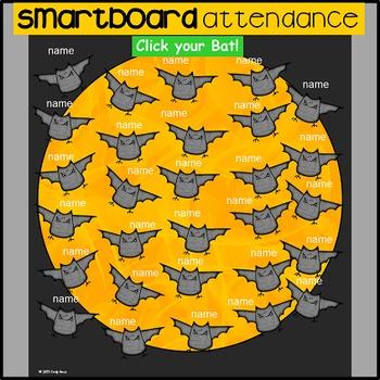 Smart Board Attendance - Going Batty (bats, classroom management)