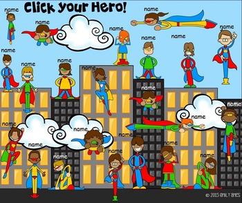 Smart Board Attendance:  Super Heroes