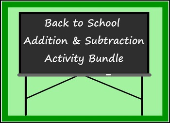 Smart Board Back to School Theme Addition & Subtraction Through 5 Bundle