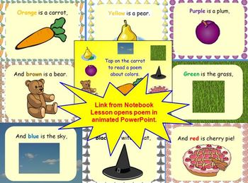 Orange is a Carrot Color Words Smart Board Lesson with PPT & Printables